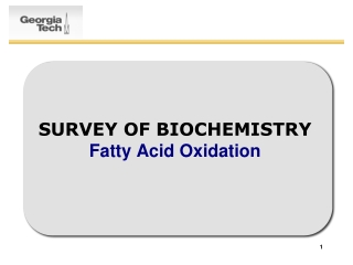 SURVEY OF BIOCHEMISTRY Fatty Acid Oxidation