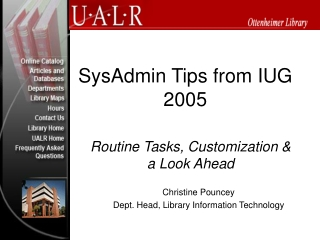 SysAdmin Tips from IUG 2005