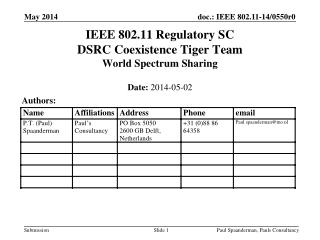 IEEE 802.11 Regulatory SC DSRC Coexistence Tiger Team World Spectrum Sharing