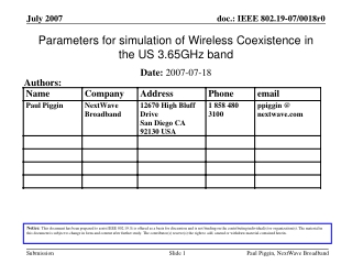 Parameters for simulation of Wireless Coexistence in the US 3.65GHz band