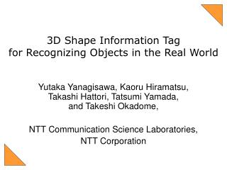 3D Shape Information Tag for Recognizing Objects in the Real World
