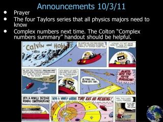 Announcements 10/3/11