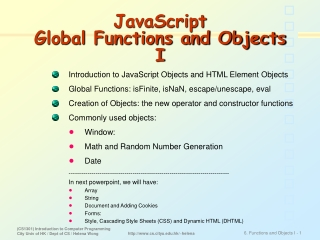 JavaScript  Global Functions and Objects I