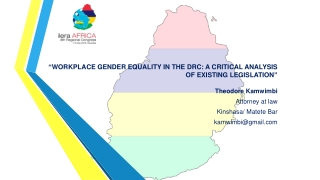 """"""" WORKPLACE GENDER EQUALITY IN THE DRC: ACRITICAL ANALYSIS OF EXISTING LEGISLATION """""""