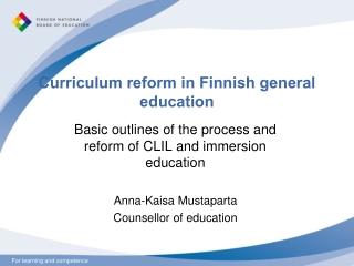 Curriculum reform in Finnish general education