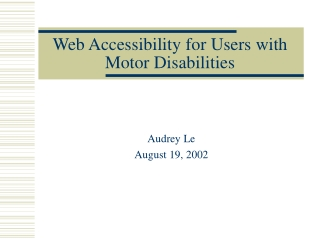 Web Accessibility for Users with Motor Disabilities