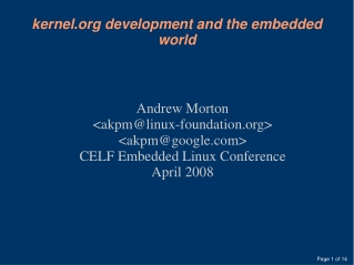 kernel development and the embedded world
