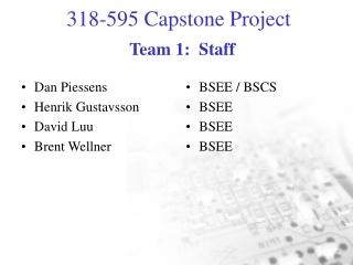 Team 1:  Staff