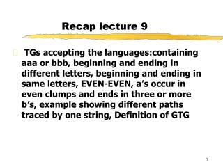 Recap lecture 9