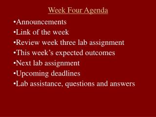 Week Four Agenda