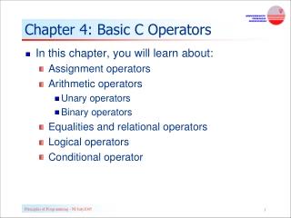 Chapter 4: Basic C Operators