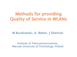 Methods for providing  Quality of Service in WLANs