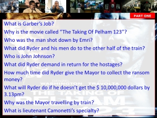 """What is Garber's Job? Why is the movie called """"The Taking Of Pelham 123""""?"""