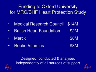 Funding to Oxford University for MRC/BHF Heart Protection Study