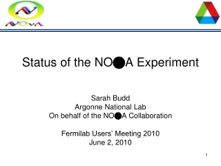 Status of the  NO n A  Experiment