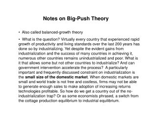 Notes on Big-Push Theory