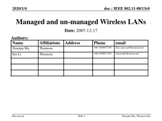 Managed and un-managed Wireless LANs