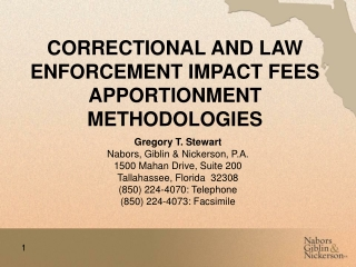 CORRECTIONAL AND LAW ENFORCEMENT IMPACT FEES APPORTIONMENT METHODOLOGIES