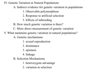 IV. Genetic Variation in Natural Populations