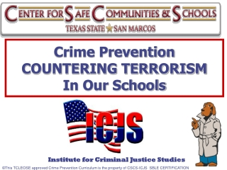 Crime Prevention  COUNTERING TERRORISM In Our Schools