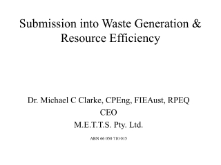 Submission into Waste Generation & Resource Efficiency