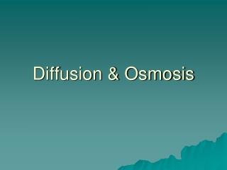 Diffusion & Osmosis