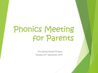 Phonics Meeting for Parents