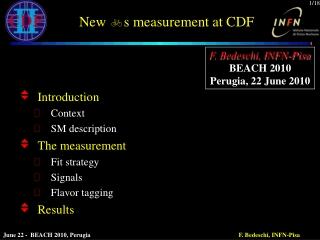 New  b s measurement at CDF