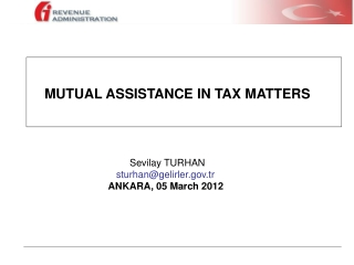 MUTUAL ASSISTANCE IN TAX MATTERS