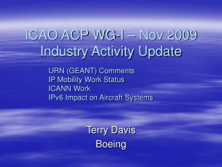 ICAO ACP WG-I – Nov 2009 Industry Activity Update