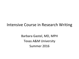 Intensive Course in Research Writing