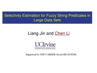 Selectivity Estimation for Fuzzy String Predicates in Large Data Sets
