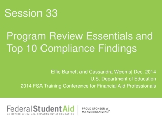 Program Review Essentials and Top 10 Compliance Findings