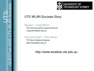 UTS WLAN Success Story