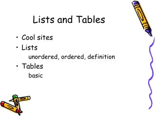 Lists and Tables