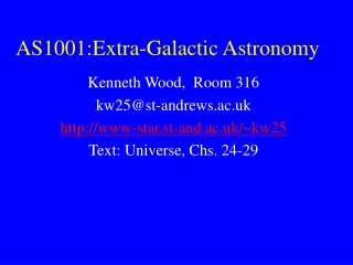 AS1001:Extra-Galactic Astronomy