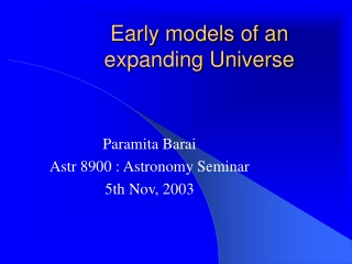 Early models of an  expanding Universe