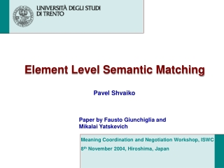 Element Level Semantic Matching