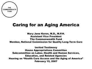 C aring for an Aging America