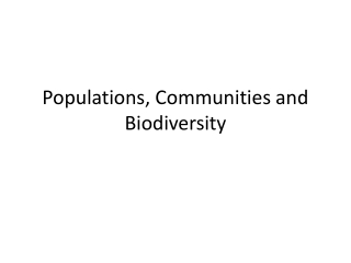 Populations, Communities and Biodiversity