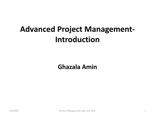 Advanced Project Management-Introduction