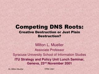 Competing DNS Roots: Creative Destruction or Just Plain Destruction?