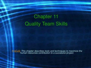 Chapter 11 Quality Team Skills