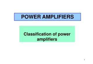 Classification of power amplifiers