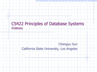 CS422 Principles of Database Systems Indexes