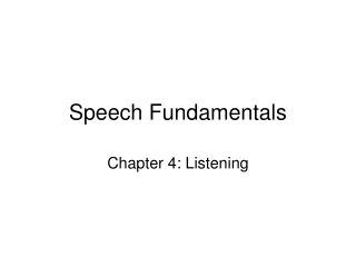 Speech Fundamentals