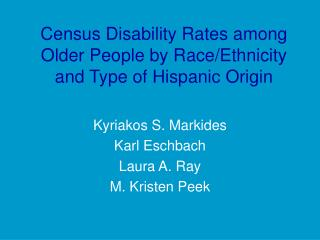 Census Disability Rates among Older People by Race