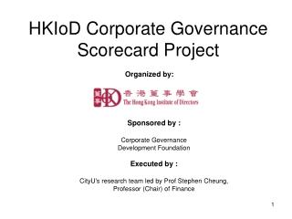 HKIoD Corporate Governance Scorecard Project
