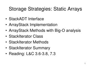 Storage Strategies: Static Arrays