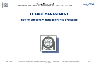 CHANGE MANAGEMENT How to effectively manage change processes